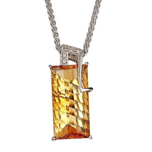 Citrine pendant laser cut and diamond pendant
