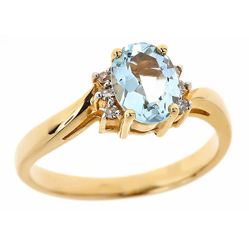 Aquamarine ring 14 karat yellow gold
