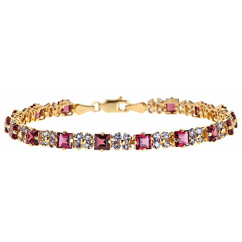 Garnet (rhodolite) tanzanite bracelet 14 karat
