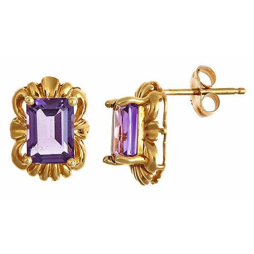 Amethyst earrings 14 karat yellow gold