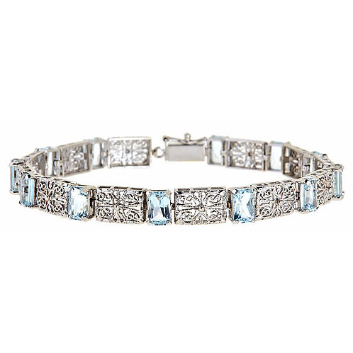 Aquamarine filigree bracelet 14 karat white gold