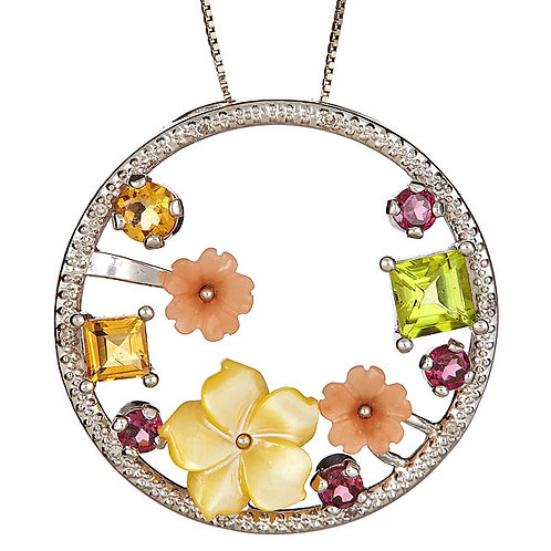 Mother of pearl, peridot, citrine, garnet pendant