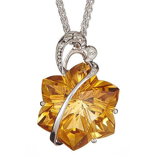 Citrine pendant with diamonds 18 karat wt gold