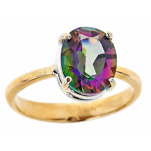 Mystic (rainbow) topaz ring 14 karat yellow gold