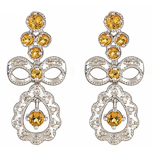 Citrine diamond earrings French style 14 kt w/g