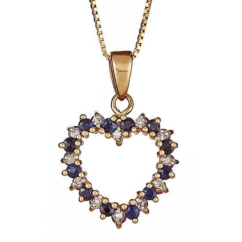 Reversible sapphire, ruby and diamond pendant