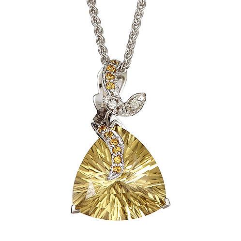 Lemon topaz laser cut citrine diamond pendant