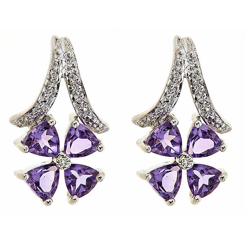 Amethyst and diamond earrings in 14 kt gold