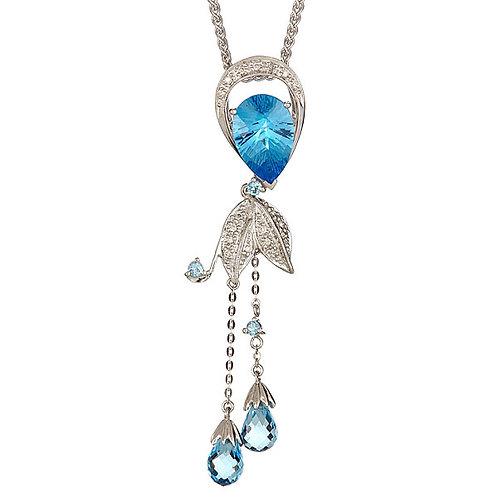Blue topaz laser cut diamond pendant 18 karat