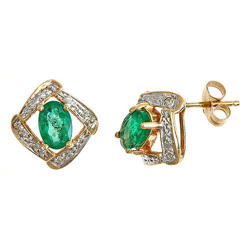 Emerald diamond earrings 14 karat yellow gold