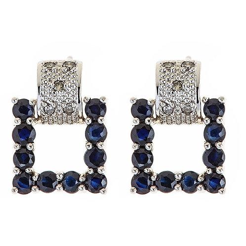 Sapphire diamond earrings 14 karat white gold