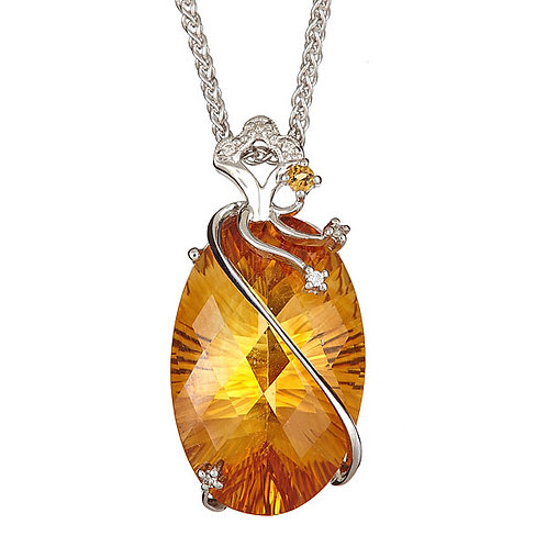Citrine laser cut and diamond pendant 18 kt gold