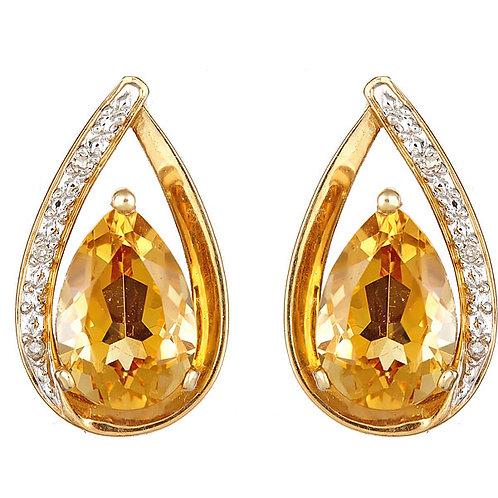 Citrine diamond earrings 14 karat yellow gold