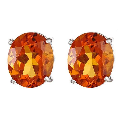 Citrine earrings oval shape 14 karat yellow gold