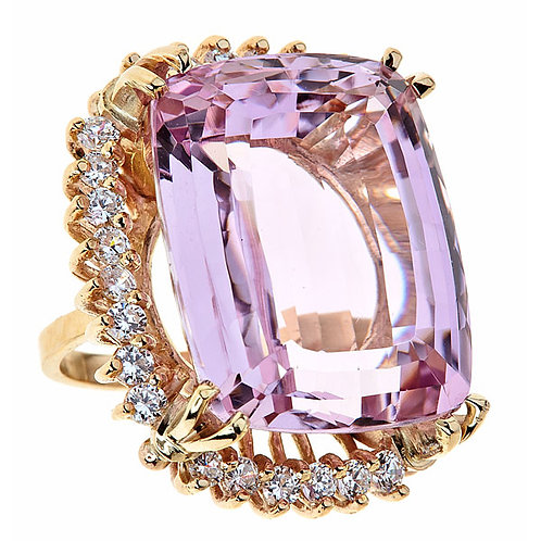 Kunzite and white sapphire ring in 14 kt gold