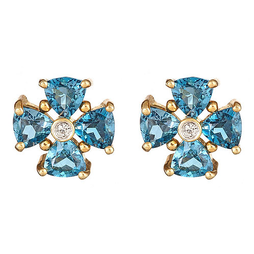 Blue topaz (London blue) diamonds 14 karat