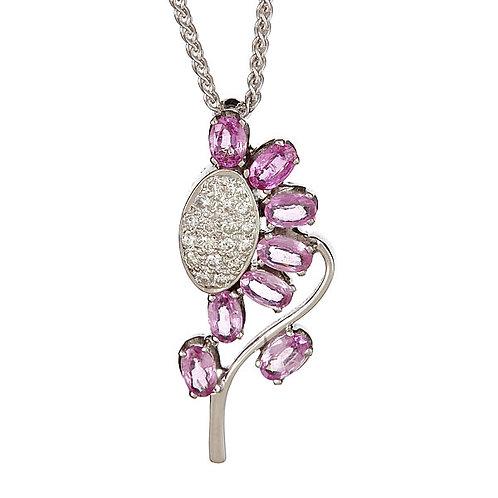 Pink sapphire diamond pendant 18 karat gold