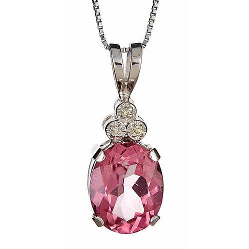 Pink topaz and diamond pendant 14 karat gold