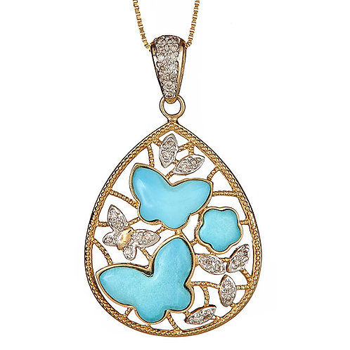 Turquoise pendant in 14 karat gold