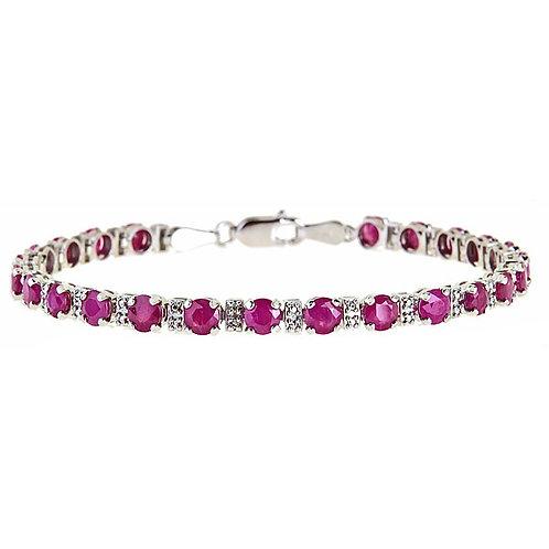 Ruby diamond bracelet 14 karat white gold