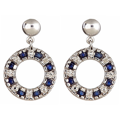 Sapphire diamond earrings 14 karat white gold