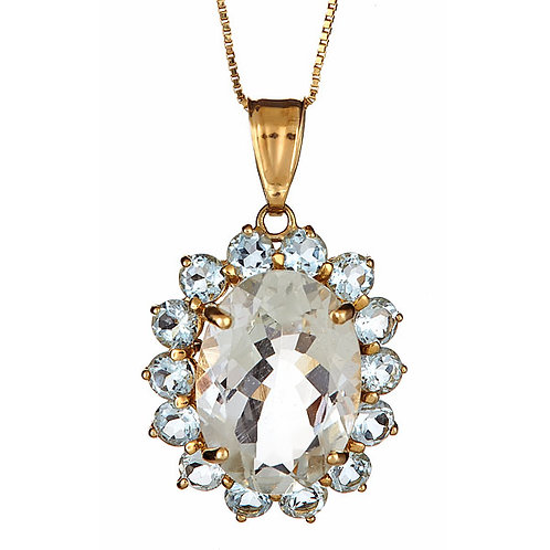 Aquamarine pendant in 14 karat yellow gold
