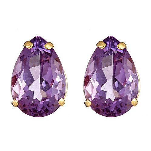 Amethyst earrings 14 karat yellow gold