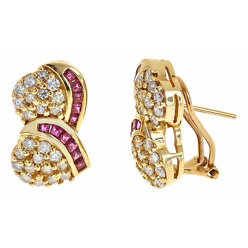 Ruby and diamond earrings in 14 kt gold