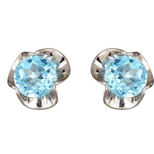 blue topaz earrings 14 karat white gold