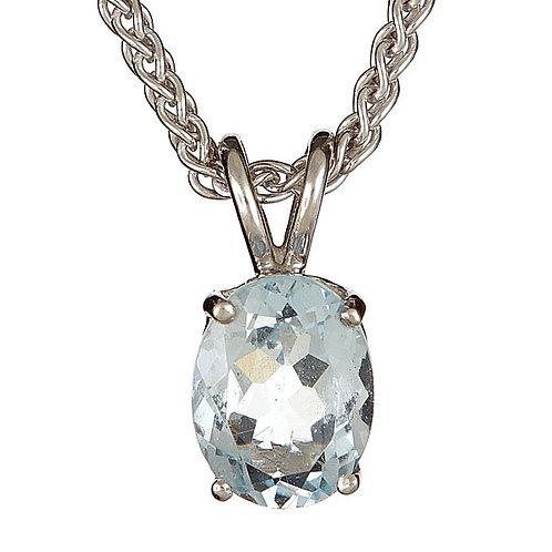 Aquamarine pendant 14 karat white gold