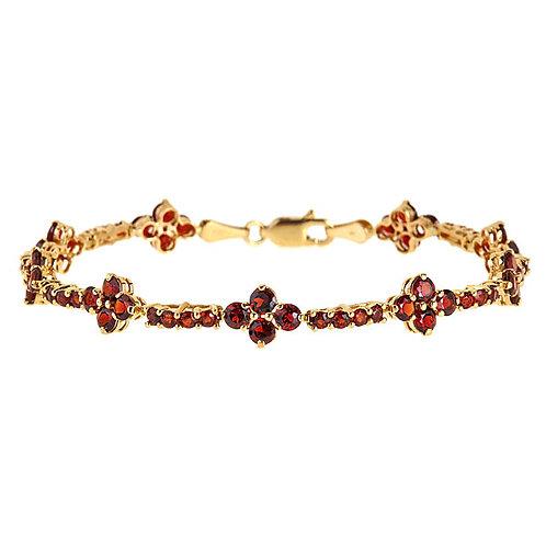 Rhodolite garnet bracelet in 14 karat yellow gold