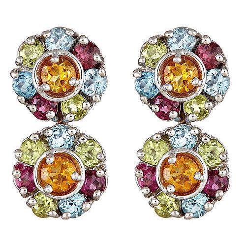 Multi gem earrings 18 karat white gold