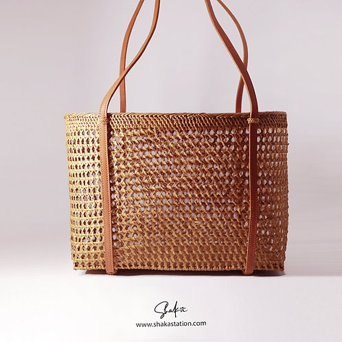 Lattice Oval Handbag