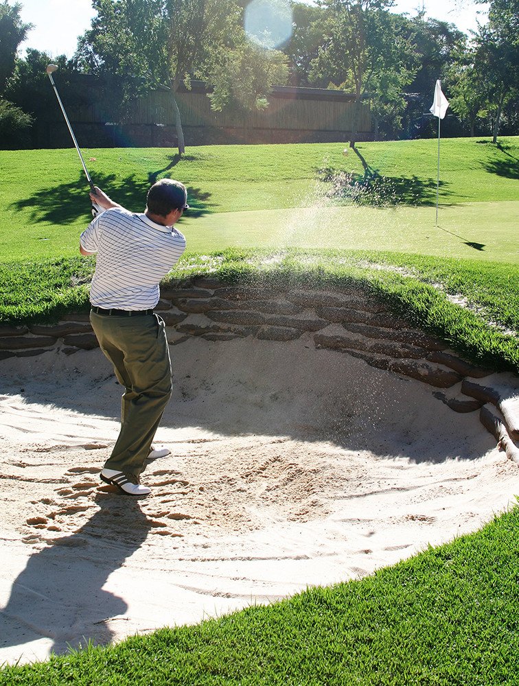 Golfer in Sand Trap - Leveraging The Past, Present & Future - Excellence In Business - Steve Huff Media