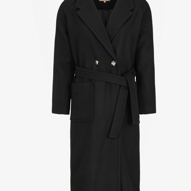 Zwarte wol mix mantel Winterjas