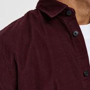 Zacht rib overhemd rood