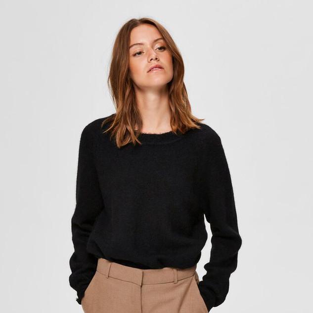 Gebreide trui basic zwart