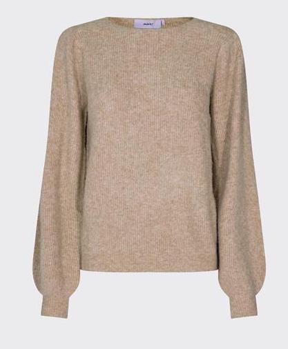 knit ballonmouwen zandkleur
