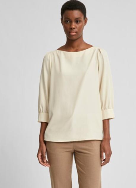 zandkleurige blouse