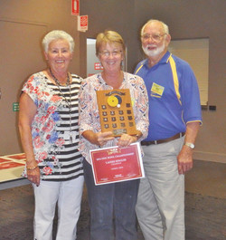 AGM 2014 - Disc Bowls Ladies Singles Winner - CHERYL - with Coral and Roy.JPG