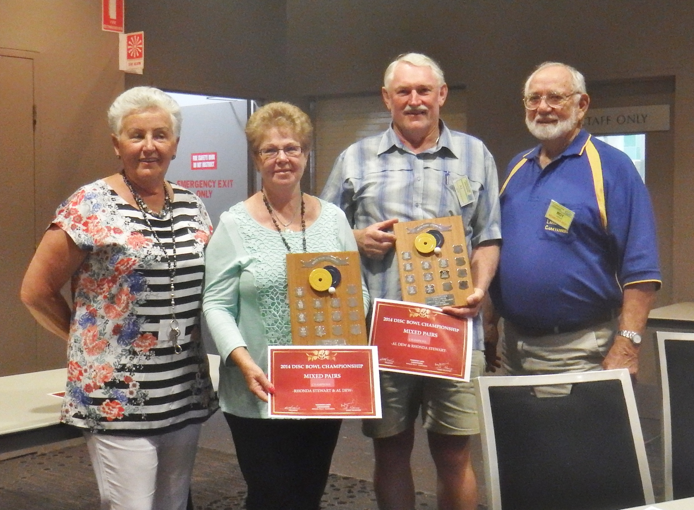 AGM 2014 - Disc Bowls Mixed Pairs Winners -RHONDA & AL - with Coral and Roy.JPG