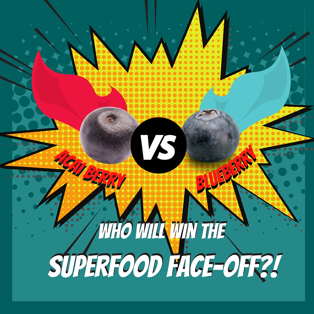 "An acai berry and blueberry sporting red and blue superhero capes go head to head in a ""who will win the superfood face off?!"""