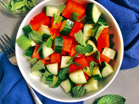 Watermelon Cucumber Mint Salad with Lime Dressing