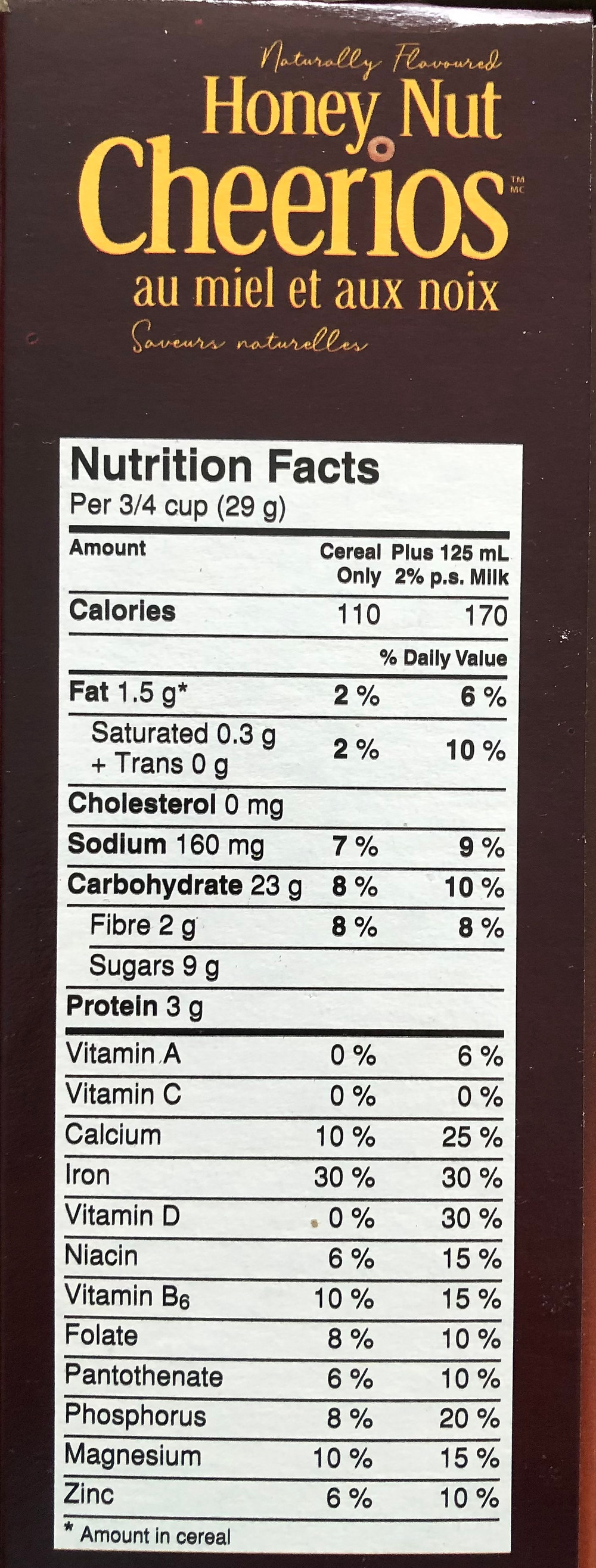 The picture is the Nutrition Facts table of Honey Nut Cheerios.