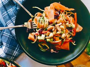 Zoodle Salad with Orange Peanut Dressing