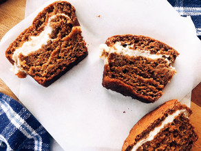 "Vegan Pumpkin Bread with ""Cream Cheese"" Filling"