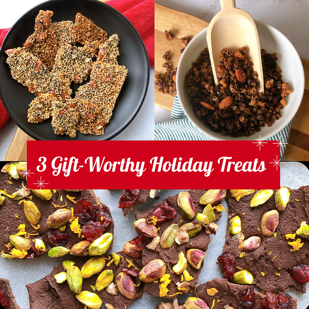 """Three recipes with quinoa brittle in the top left, gingerbread granola in the top right, and Christmas chocolate bark in the bottom. A red banner is found in the middle of the photo with the title """"3 Gift-Worthy Holiday Treats"""". Snowflakes frame the banner."""