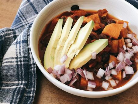 Simple Sweet Potato and Black Bean Chilli