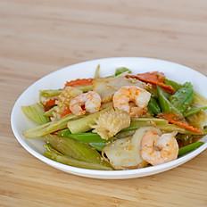 Stir Fry Seafood + Celery