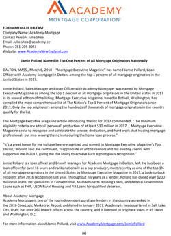 Jamie Pollard Named in Top One Percent of All Mortgage Originators Nationally